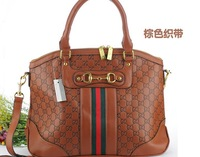 Free shipping brown hot sell brand handbag fashion high quality PU leather bags for women bag and designer brand handbag brown