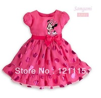 Retail New design 2014 children party dress girls cute fashion cartoon Minnie Mouse dot bow princess dresses . Pink , Red