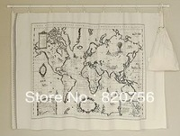 COCO DIY Fabric! 143x73cm pretty world map cotton linen fabric -vintage DIY Zakka Fabric Free Shipping