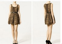 New 2014 Women high quality Fashion sexy Leopard Print Casual  ladies Polyester fibers One Piece Dress XS~L 238