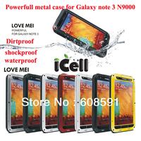 Original LOVE MEI  Extreme Powerfull Dirtproof Waterproof Metal Aluminum Case For Galaxy Note 3 N9000 + Gorilla Glass, freeship