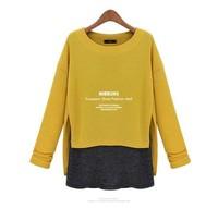 Fashion patchwork 8671 winter women lady female tops blouse thickening chiffon shirt basic t-shirt sweater long sleeve loose