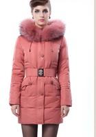 Women's medium-long thickening down ultra long fur coat fur collar  =Yr4