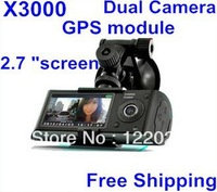 Free Shipping!In stock! Original X3000/R300 Car DVR hd with GPS logger G-Sensor Dual lens 2.7 inch LCD Camera Video recorder