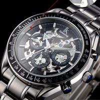 Brand IK colouring mechanical watch, steel waterproof, multi-functional men's watch, week / calendar / 24 hours.