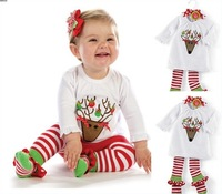 Children's clothing autumn child cartoon top stripe socks trousers twinset long sleeve set