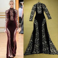 Fashion autumn female noble elegant ultra long paragraph one-piece dress velvet long-sleeve slim formal dress full dress