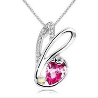 925 sterling silver lovely rabbit crystal pendant
