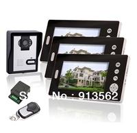 DHL Free Shipping:3 Unit Home CCTV Surveillance Wireless Video Doorphone  Apartment 7 inch TFT Monitor Video Doorphone Door