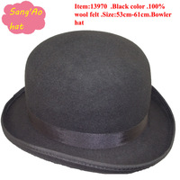 Special sell black winter bowler hats fedora for men or ladies100% wool felt with lining and high quality ribbon brand 53cm-61cm