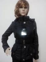 Free Shipping!  Black zipper hooded belt slim down cotton-padded jacket  =Yr6