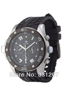 2014 New style Fashion  Ouyawei Men's Sports Rubber Strap Black Dial Mechanical Watches  Free shipping