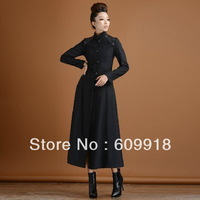 New Design Free Shipping Women's Autumn and Winter Fashion Wool Collar Slim Long Coat  Big Wing Coat Woolen Outerwear