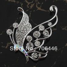 Rhodium Silver Plated Clear Rhinestone Crystal Beautiful Butterfly Diamante Broach Brooch