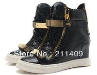 GZ Newly styler women's Crocodile pattern sneakers genuine leather wedge boots,Casual shoes Ankle boots ankle-length female