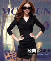 on sale 8782 2013 autumn slim hip a one-piece dress plus size clothing basic skirt  free shipping