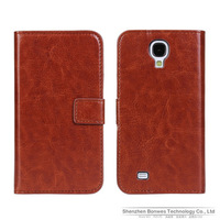 Crazy-horse Leather Folio Cover with Card Slots Wallet Case for Samsung I9500 Galaxy S IV S4, Free Shipping,100pieces/lot