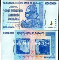 The world's largest denomination ZIMBABWE bank notes 100 trillion   1 pcs/lot