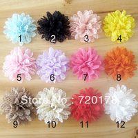 Free Shipping! 40pcs/lot,12color,4''Assorted Colours  trail order lace baby hair/headband Layered flower Hair Accessories,TYF032