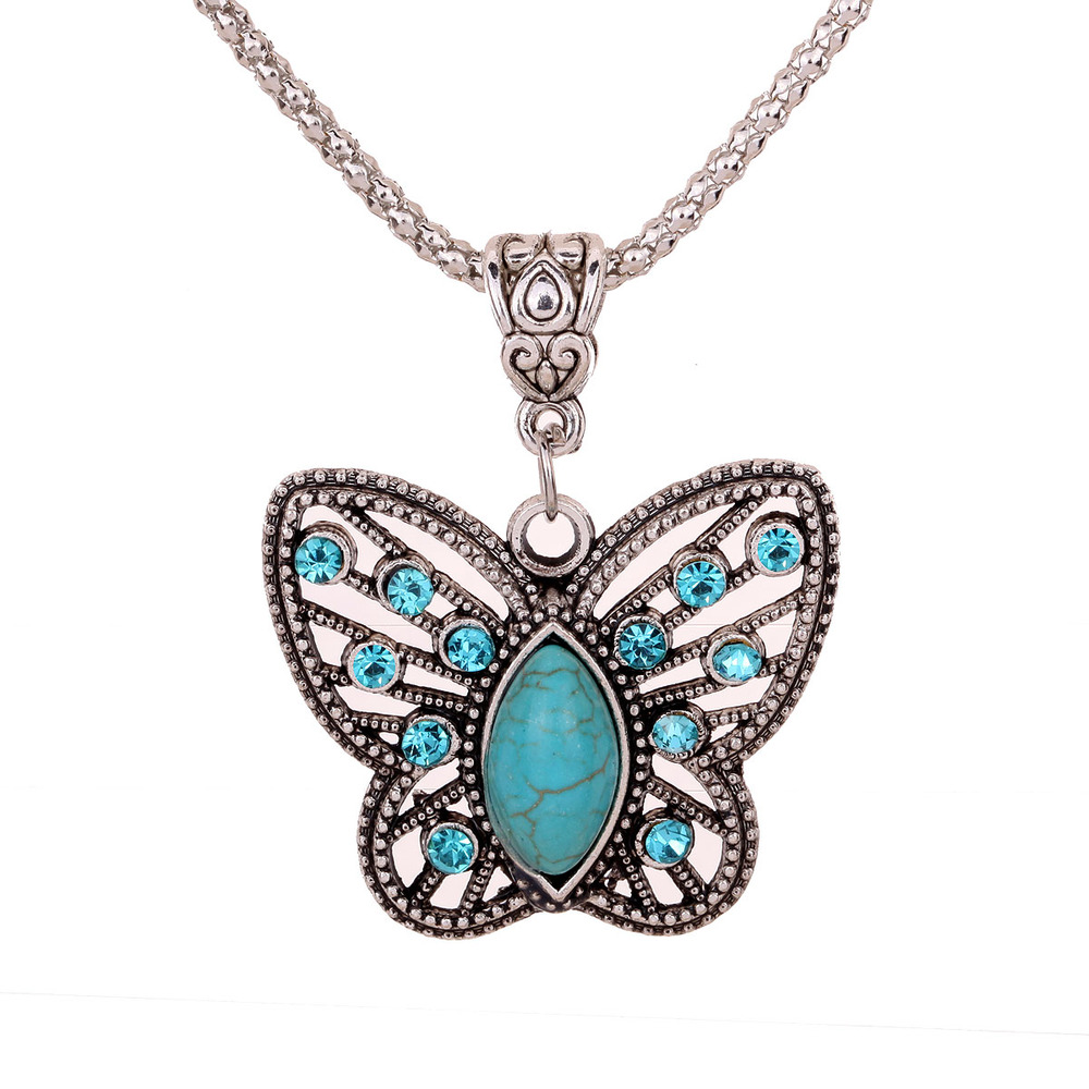 Yazilind Jewellery Christmas Antique Hollow Tibetan Silver Butterfly Crystal Turquoise Pendant Chain Necklace Clothes for Women(China (Mainland))