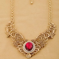 cutout metal lace gem necklace female  2013 new jewelry wholesale
