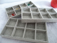 Free Shipping 2014 New Arrival  Ice Velvet 8 Grids Jewelry Display Tray Jewelry Storage Box Four Color [ Grey ]