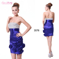 HE03576 Strapless Flowers Ruffles Crystal Beads Padded Cocktail Dress