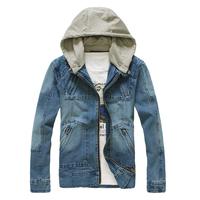 Men's clothing water wash denim jackets detachable cap male denim outerwear Free Shipping M - L - XL - XXL