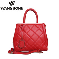 Wansbone expo dimond plaid women's cowhide handbag modern female messenger bag