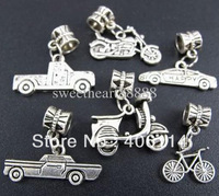 120pc Mix Vehicle Car Bike Motorcycle Sets Charm Beads Pendants  Fit European Bracelet Jewelry DIY
