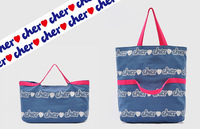 Grocery appendix cher blue print cotton canvas dual-use shopping bag shoulder bag !