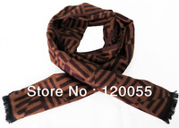 Fashion Korean Style Winter Autumn Men Brown Geometric Stripe Man's Handsome Scarf Thick Long Scarves Shawl Wom For Men New