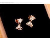 Korea Korean female lovely sweet charm fashion three-dimensional bow zircon earrings earrings C135