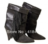 2013 winter Designer Women boots Bottines Isabel Marant Pour H-M tassel wedge booties grey boot shoe