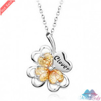 Wholesales Fashion Jewelry 18K Platinum Plated Crystal Korea Clover Necklaces & Pendants for women 90B156