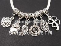 MIC 100pcs Tibetan Silver Mixed Flower Leaves Sets Dangle Beads Pendants Fit European Bracelet Jewelry DIY