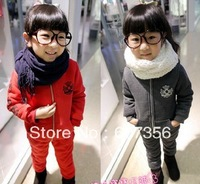 2013 NEW girls 2pcs sets children tops+ long pants suits Winter clothes kids outfits 2 color fashion garment dkalch55