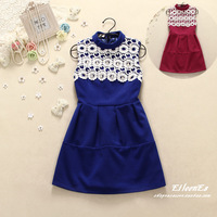 2013 autumn and winter sweet one-piece dress princess dress small stand collar sleeveless tank dress autumn and winter skirt
