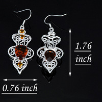 Free Shipping  Fashion 925 Silver  Brazil Citrine Dangle Crystal Earrings E0509+Tracking Number