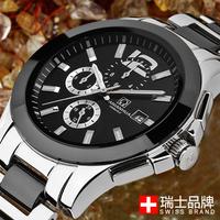 Brand  Carnival men's stainless steel sport's watch date week and second ceramic& steel strap luminous dial  skeleton