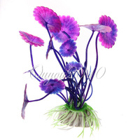 5pcs/lot Vivid Plastic Aquarium Decorations Purple Artificial Plants Fish Tank Grass Flower Ornament Decor