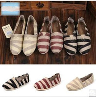 women  fashion leisure  slip-on shoes,Mary stripe canvas shoes big yards