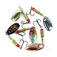D19 10pcs 6g Fishing Dish Lures Treble Hook Spinner Paillette Bait