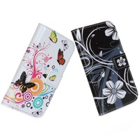 free shipping drop-shipment PU leather flower butterfly flip cover wallet phone case for samsung Galaxy S3 Mini i8190