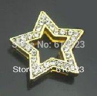 SALE 20pcs/lot 18mm golden full rhinestone star slide charm