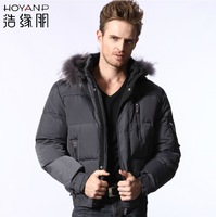 100%original brand Male design fur collar short down coat male casual Men men's clothing ha12137