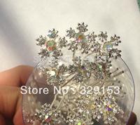 200pcs/lot Snow  Bridal Crystal   Hair Pins Pick Silver Plating    PVC Box Packing