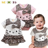 new 2013 Summer hello kitty Leopard baby girls short-sleeved Romper clothes to climb wholesale kids clothes Free Shipping