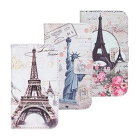 statue of liberty eiffel towel flower PU leather wallet phone case cover for Galaxy S3 Mini i8190