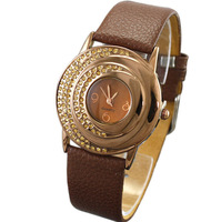 Free shipping new arrival  chocolate  rhinestone  crystal ladies  strap ultra-thin quartz  student   fashion ladies' watches